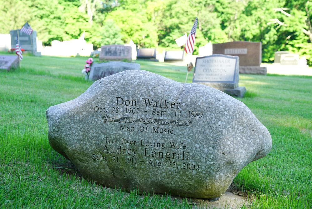 The unusual tombstone of a famous person at Thompson Memorial Cemetery. New Hope, Pennsylvania.