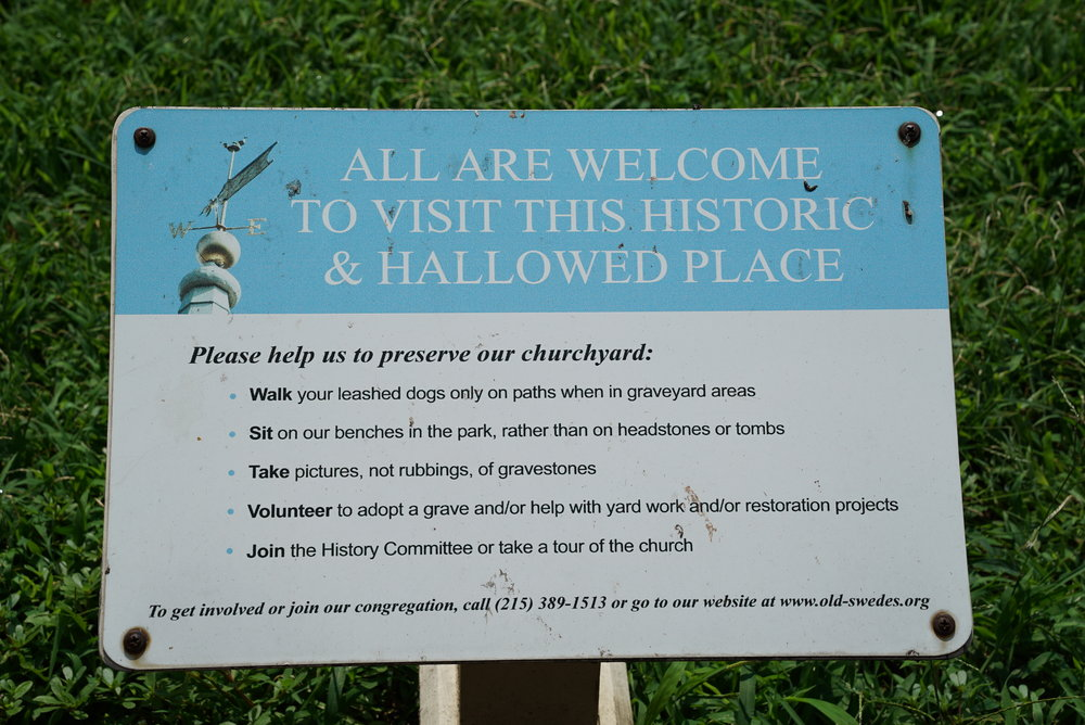 Sign at entrance to Old Swedes Cemetery. Philadelphia, Pennsylvania.