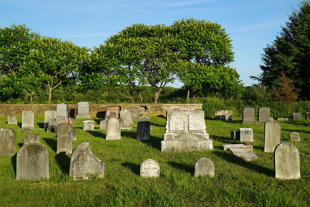 Late day sun at St. Luke Evangelical Lutheran Church Cemetery - Ferndale, Pennsylvania.
