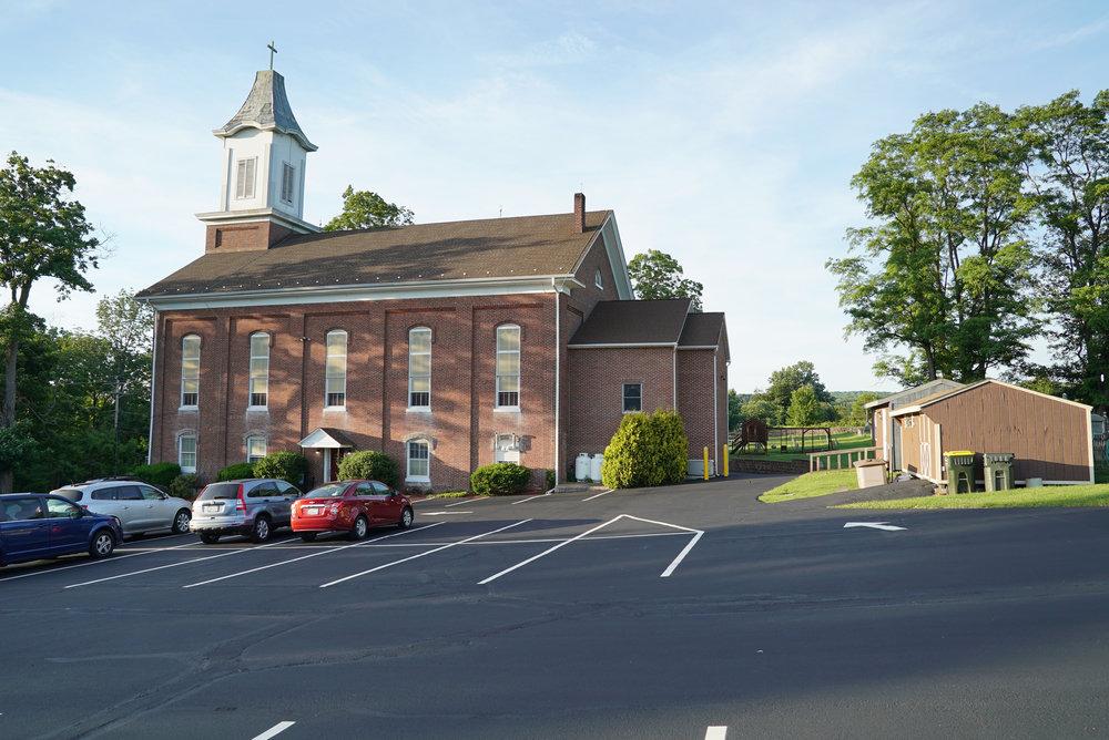 The church at St. Luke Evangelical Lutheran Church Cemetery in Ferndale, Pennsylvania.