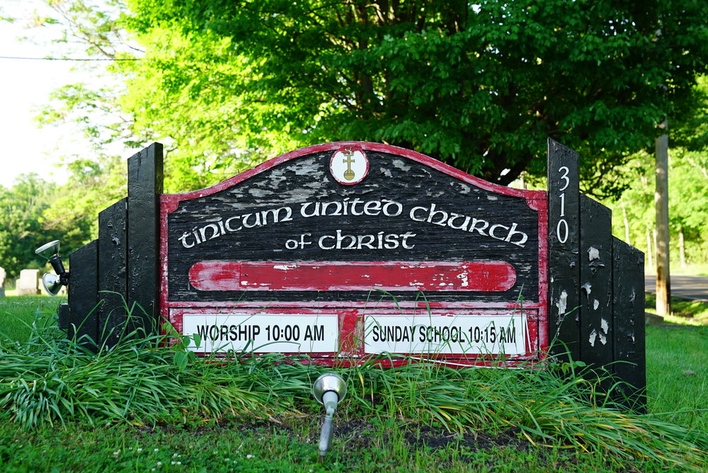 Sign at Tinicum United Church of Christ Cemetery Pipersville, Pennsylvania.