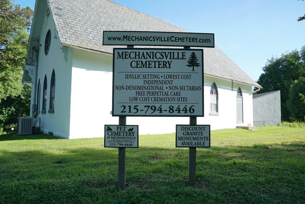 Sign at Mechanicsville Cemetery. Buckingham Township, Pennsylvania.