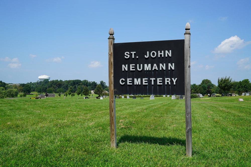 Sign at the entrance to St. John Neumann Cemetery in the Chalfont area of Bucks County, Pennsylvania.