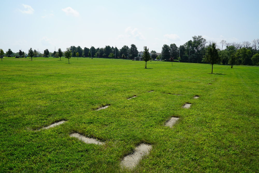 Foundations are already in, waiting for future headstones. St. John Neumann Cemetery, Chalfont, Pennsylvania.