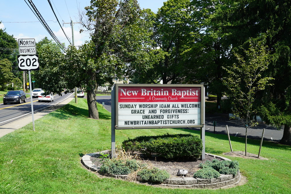 Sign outside New Britain Baptist Church Cemetery - New Britain, PA.