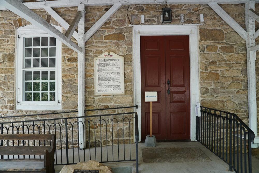 Entry to Buckingham Friends Meetinghouse.Lahaska, Pennsylvania