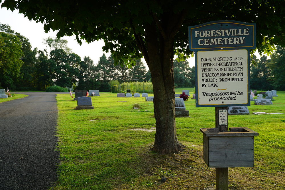 Sign at Forestville Cemetery. Forest Grove, Pennsylvania.