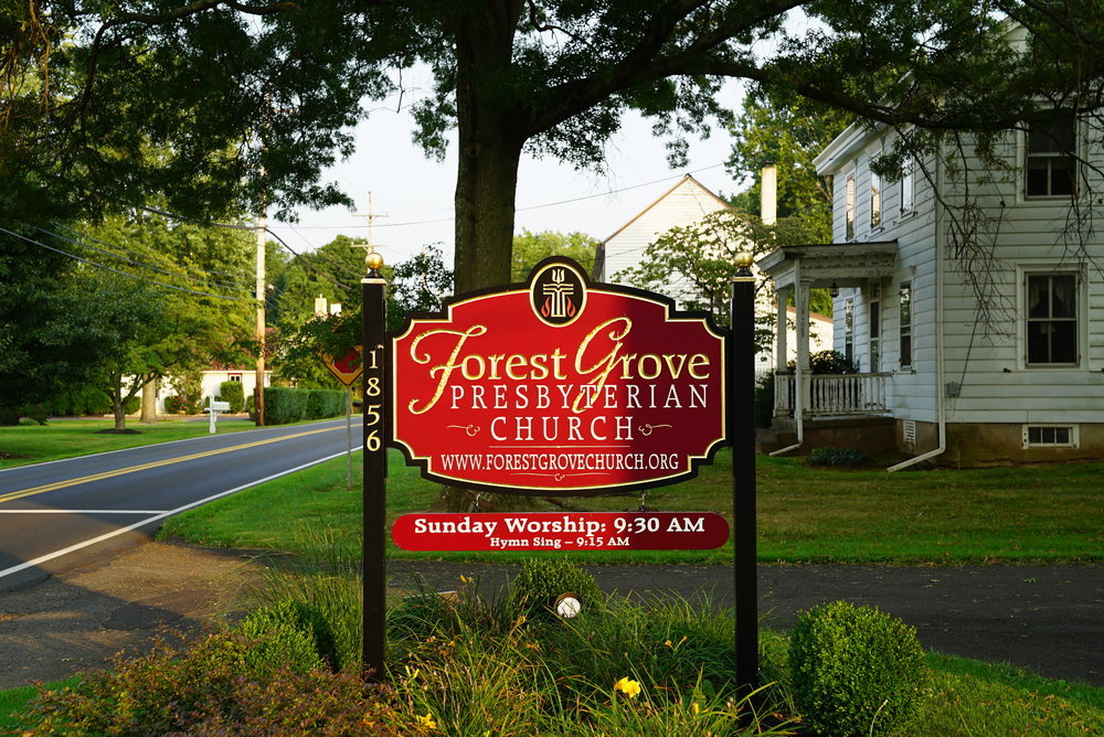 Church sign at Forestville Cemetery - Forest Grove, Pennsylvania.