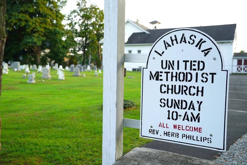Sign at Lahaska United Methodist Church Cemetery - Lahaska, Pennsylvania.