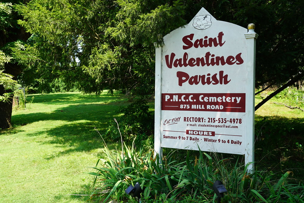 Sign at the entrance to St. Valentine's Cemetery - Andalusia, Pennsylvania