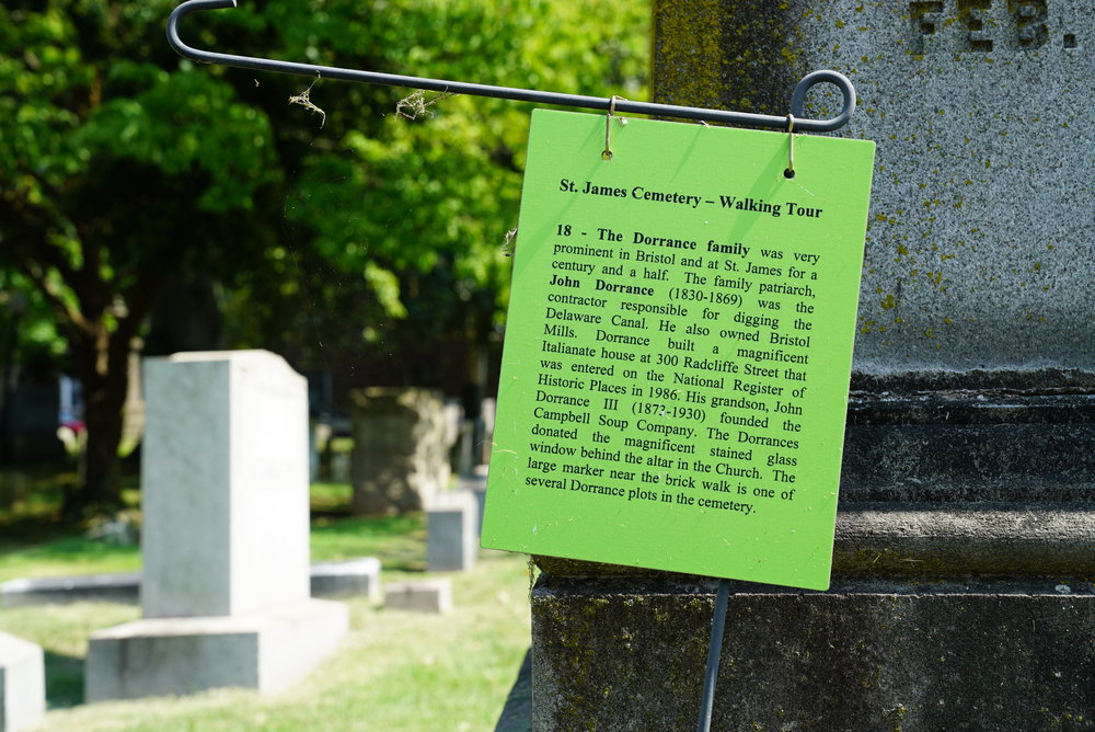 Interesting informational signs are at various graves. St. James Cemetery - Bristol, Pennsylvania