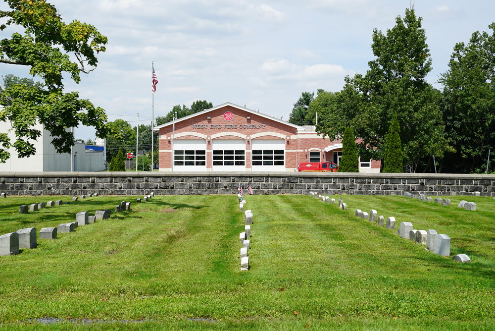 The firehouse, straight ahead. Richland Friends Burial Grounds - Quakertown, Pennsylvania.