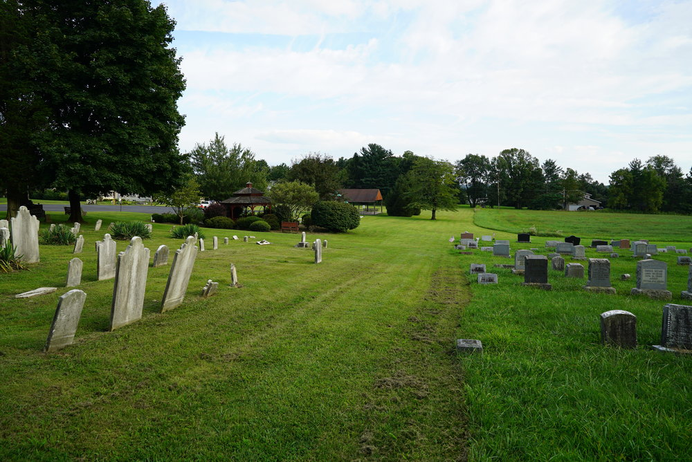 Here you can see the church cuts the grass on their property, and the cemetery has a different grounds maintenance standard. Zion Hill Cemetery - Zion Hill, Bucks County, Pennsylvania.