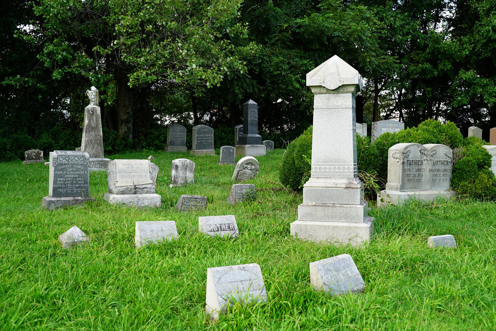 I get nervous about picking up ticks when I visit a cemetery with grass this high. Zion Hill Cemetery - Zion Hill, Bucks County, Pennsylvania.