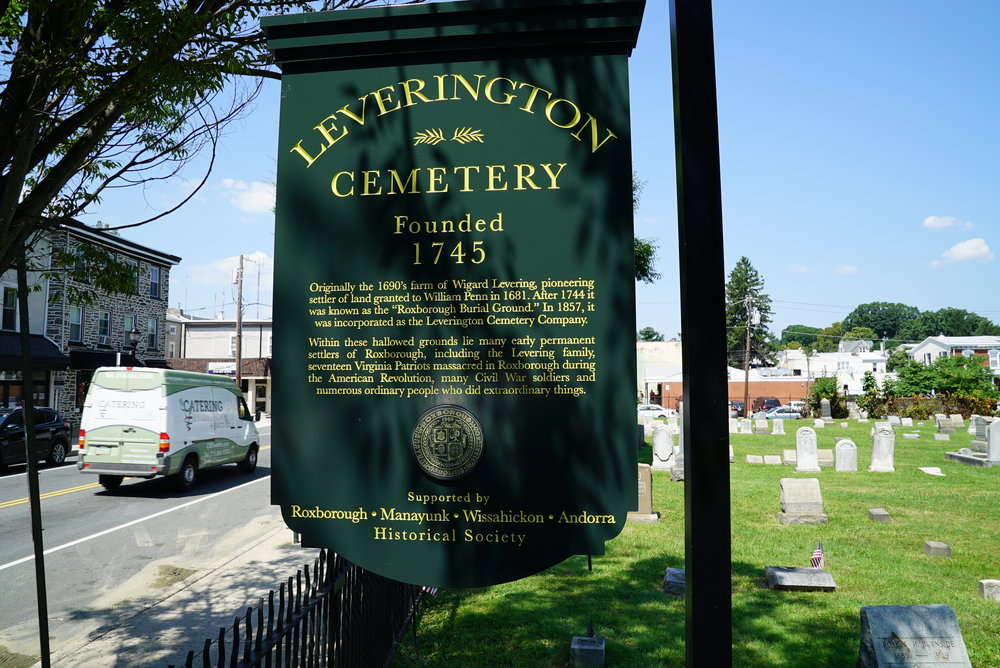 New sign. Leverington Cemetery - Philadelphia, Pennsylvania.