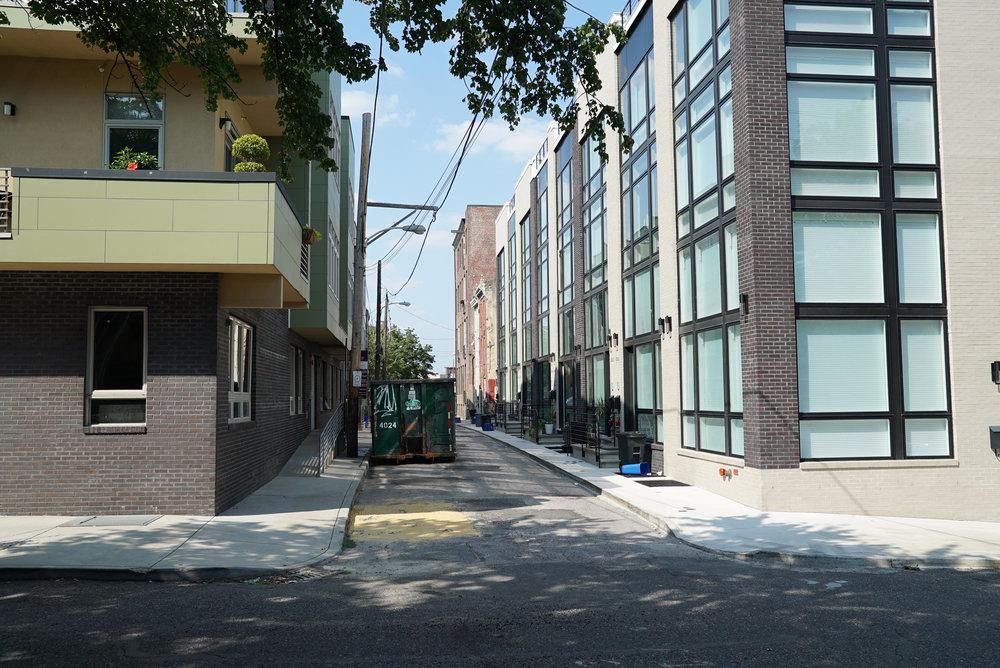 Across the street: new residential construction. St. Michael's Cemetery - Philadelphia, Pennsylvania.