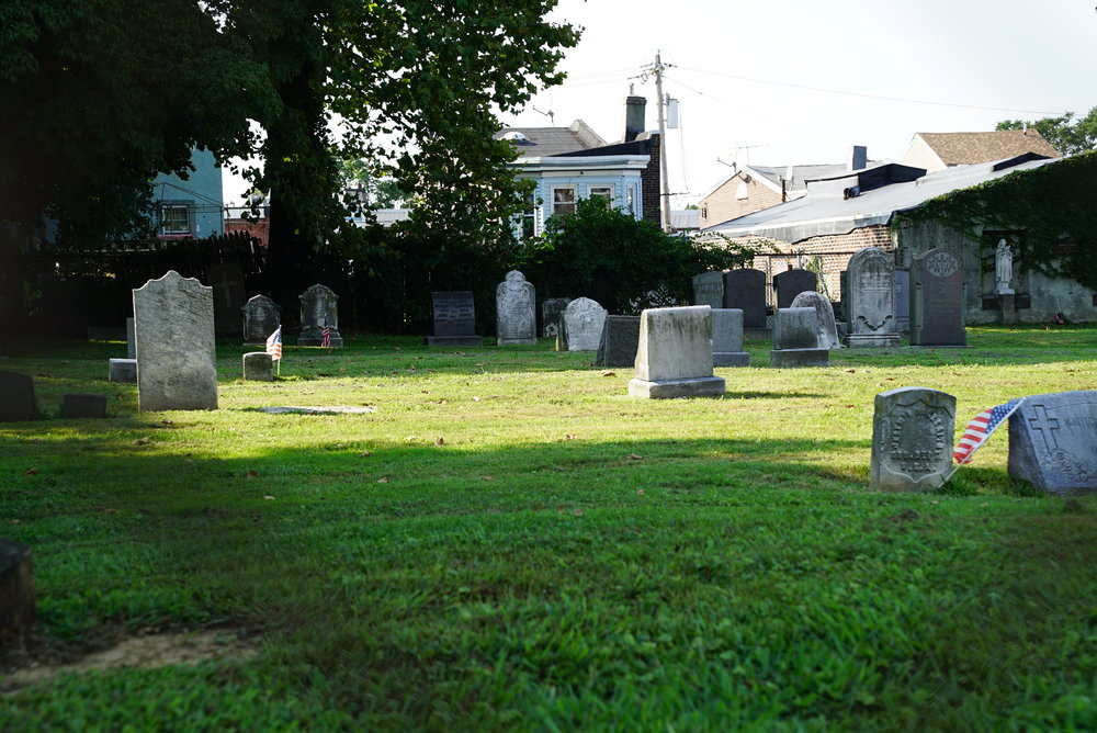 Though this church was permanently closed in 2013, the cemetery grounds continue to be maintained. St. Joachim Roman Catholic Church Cemetery - Philadelphia, Pennsylvania.