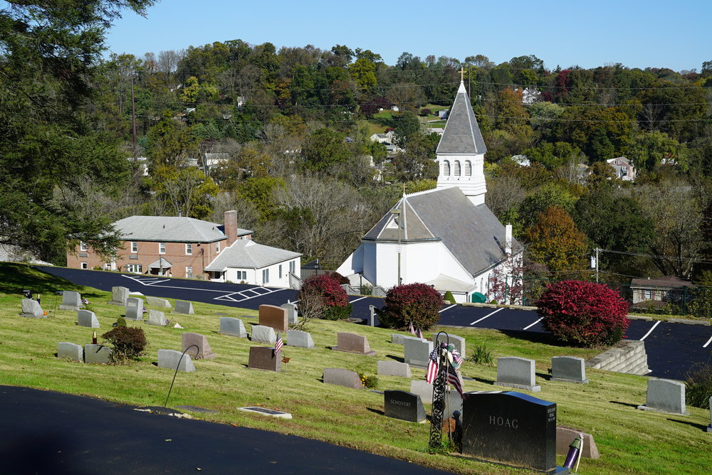 A view of St. Francis De Sales Church Cemetery, Aston, Pennsylvania. Photographed October 30, 2018.