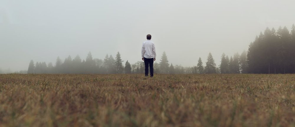 man standing in foggy field