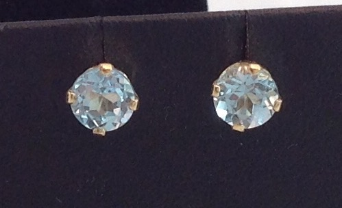 14kt yellow gold 6.0mm Blue Topaz Earrings
