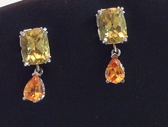 14kt Beryl & Spessartite Earrings