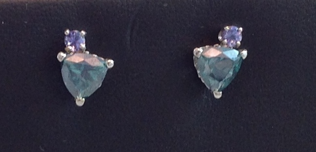 14kt Tanzanite Trillium Green Topaz Earrings