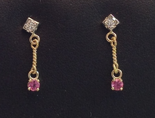 18kt yellow gold Pink Tourmaline Drops