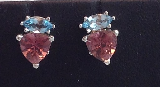 14kt Pink Tourmaline/Blue Topaz Earrings
