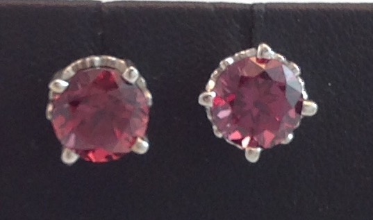 14kt white gold Rhodalite Garnet Earrings