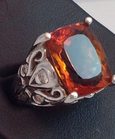14kt Hand Carved Madeira Citrine Ring