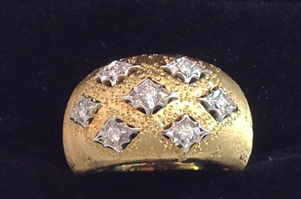 18kt Yellow and White Gold Textured Dome Ring