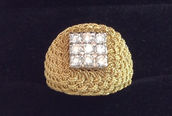 18kt Yellow Gold Hand Woven Ring