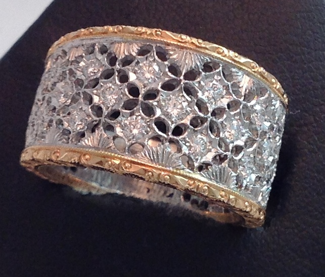 18kt White & Rose Gold Filigree Band
