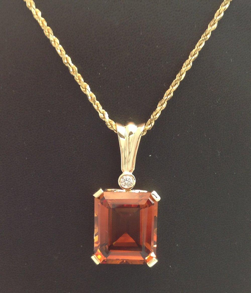 Madiera Citrine Diamond Pendant