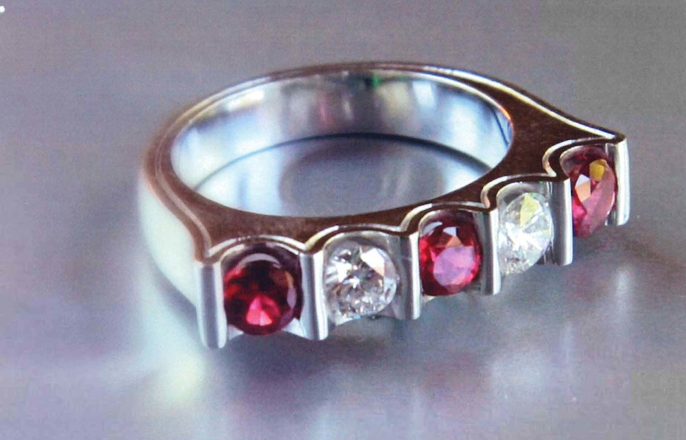 18kt WG Diamond & Pink Spinel Ring