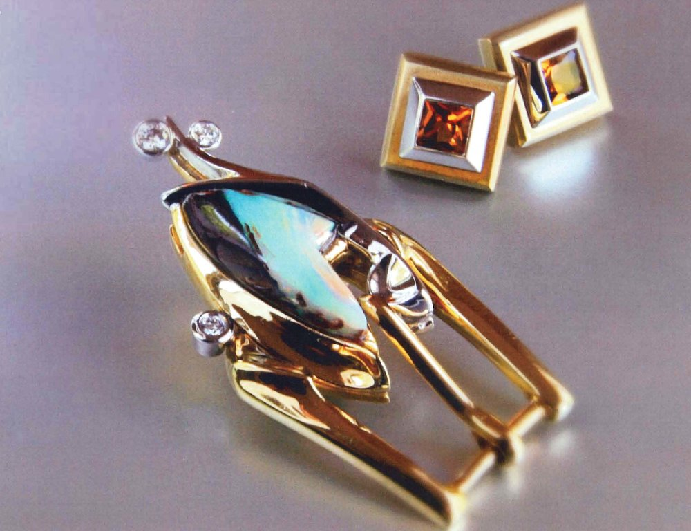 18kt Gold Square Bezel Citrine Earrings, 18kt YG Buckle with Opals/Diamonds