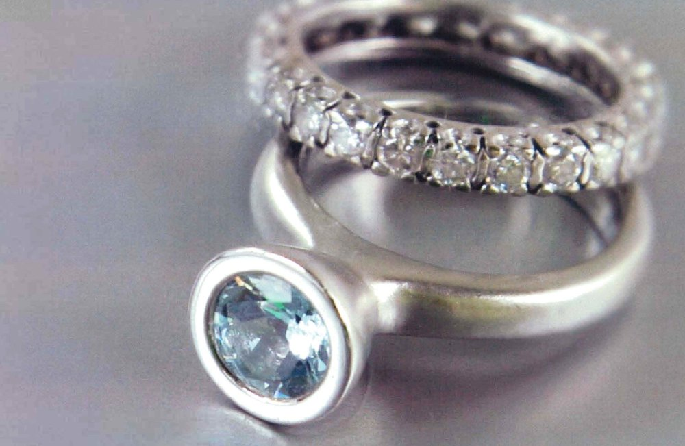 18kt White Gold Eternity Band, Platinum Ring with Aquamarine