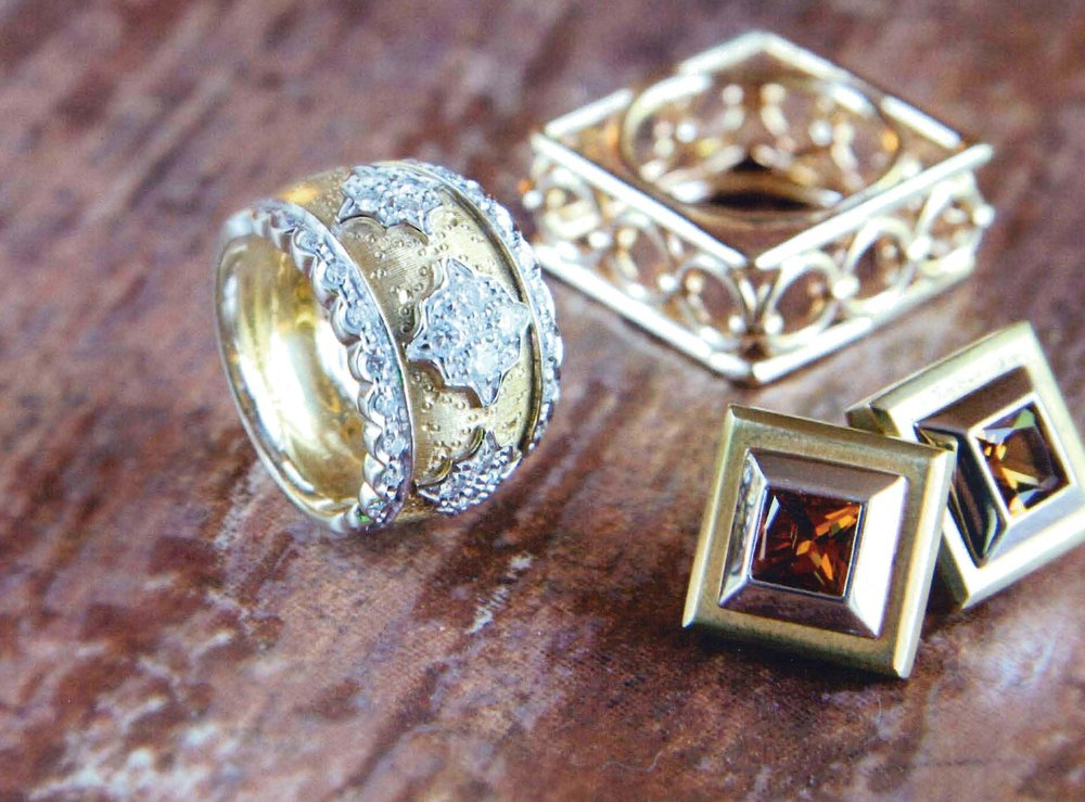 14kt Square Ring, 18kt Tapered Dome Band, 18kt Gold Bezel Citrine Earrings