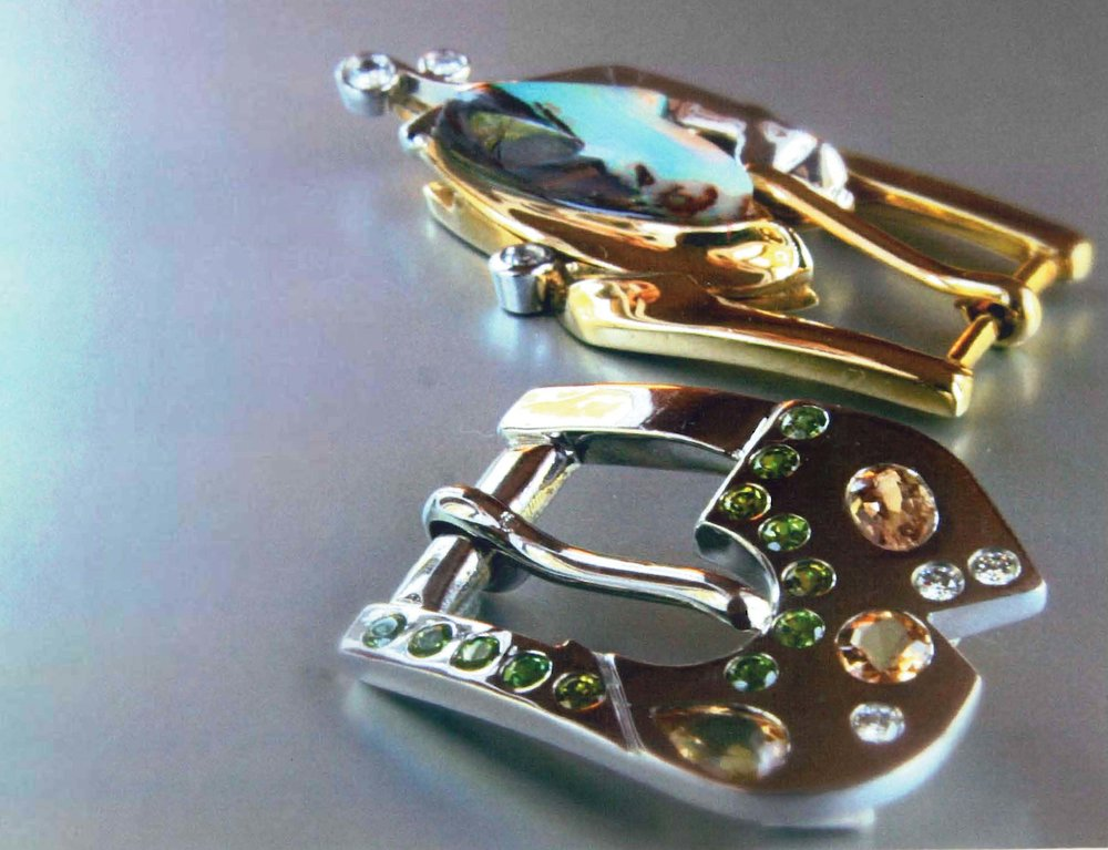 18kt Buckle Opal & Diamonds, 18kt WG Buckle  Semi-Precious Stones & Diamonds