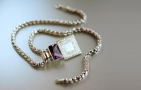 Plum Crazy - Sterling Silver hand-engraved pendant with a 13.93 ct. natural amethyst on a 6mm wheat chain