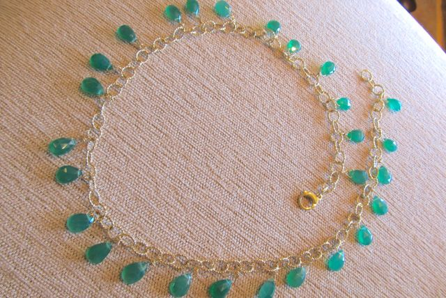 18k twisted wire necklace with briolette chrysoprase