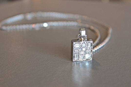 14kt white gold square pendant with pave diamonds
