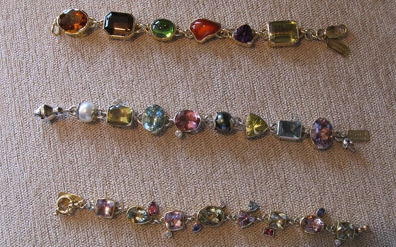 One-of-a-kind, multi-gem bracelets