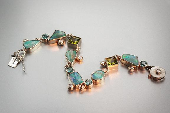 Julia-  14k white gold bezel set bracelet with Opal, Peridot, Blue Zircon, Diamonds