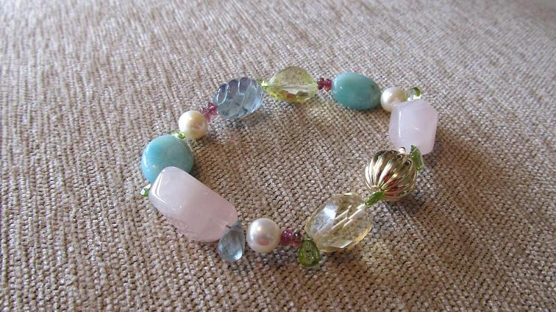 14k white gold bracelet with a variety of semi-precious beads. Custom made for a wedding in St. Croix.