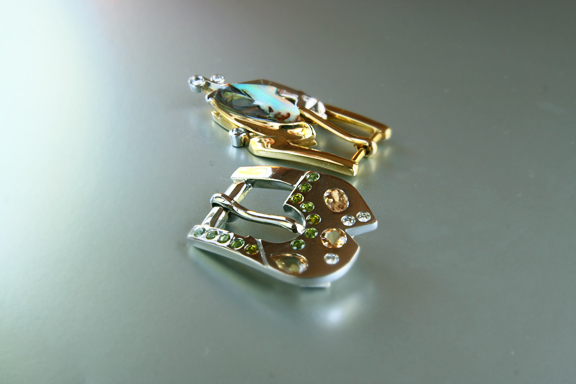 Belissimo -  18k yellow and white gold buckle with opal and .37 ct. t.w. diamonds and an 18k white gold buckle with burnished semi-precious stones including precious topaz, green garnets and .30 ct. t.w. burnished diamonds