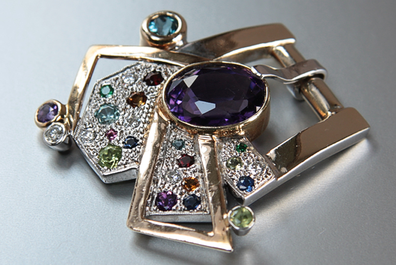 Confetti-  18k yellow gold and white gold bucklet with pave diamonds and set with gemstones