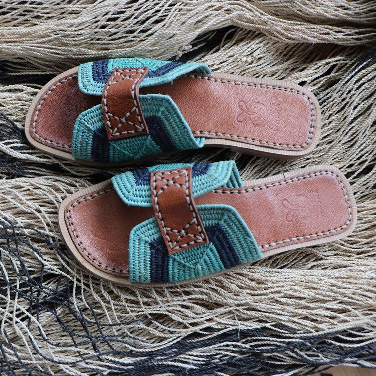 yvonne waska gaïa stone blue moroccan raphia raffia shoes