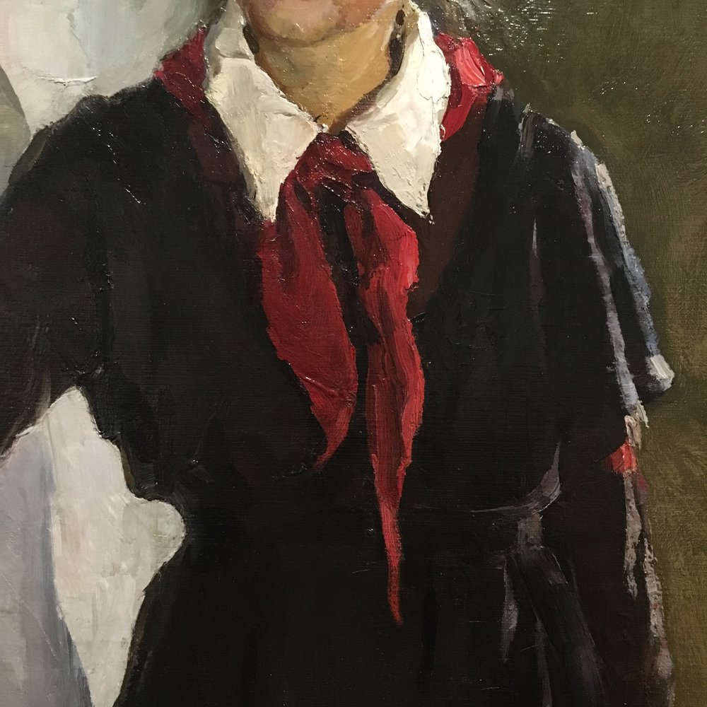 spring finn and co russian art museum minneapolis soviet children oil painting russian painting details red russian scarf