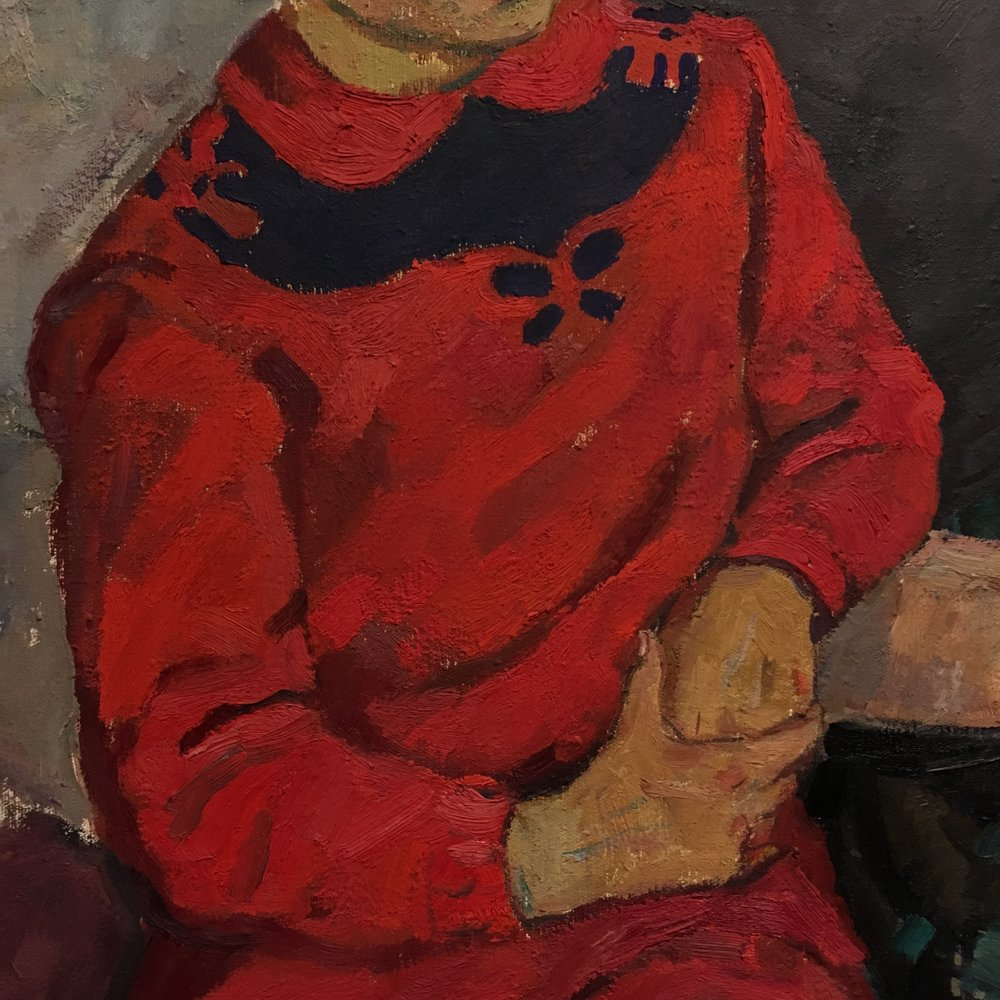 spring finn and co russian art museum minneapolis soviet children oil painting russian painting details soviet nature morte red sweater red oil painting